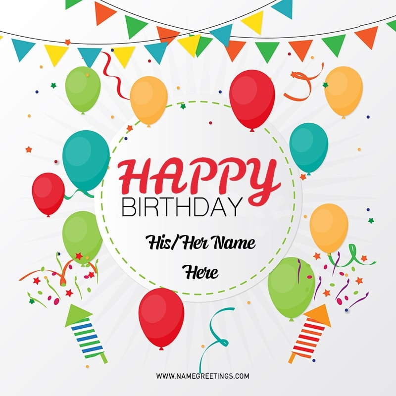 Write Name on Happy Birthday Party Balloons Greeting Card