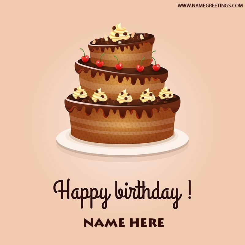 Write name on Happy Birthday Chocolate Cake photo greeting card