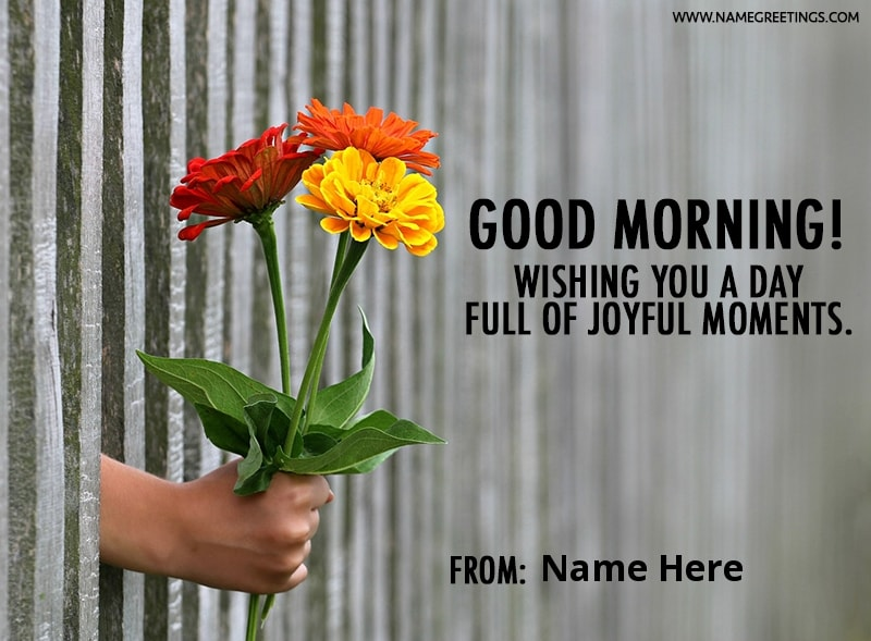 Write name on good morning greeting card