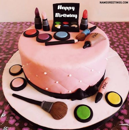 Create Makeup Birthday Cake With Name